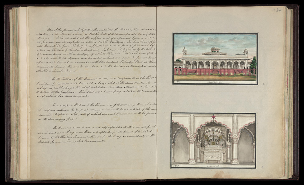 The Diwan-i 'Am from the west (top right), The imperial jharoka in the Diwan-i 'Am (bottom right)